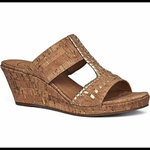Jack Rogers Nora Wedge Natural Cork/Gold Size 51/2